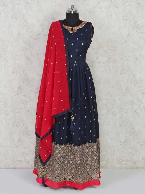Navy Blue Cotton Silk Anarkali Salwar Kameez For Festives