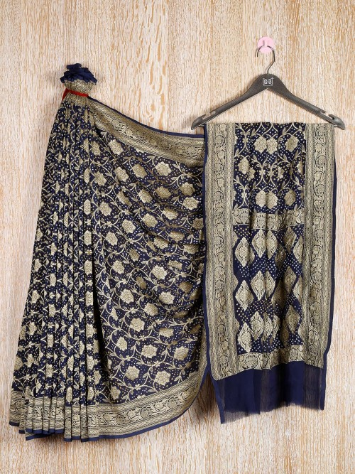 Navy Blue Georgette Saree With Bandhani And Floral Effect