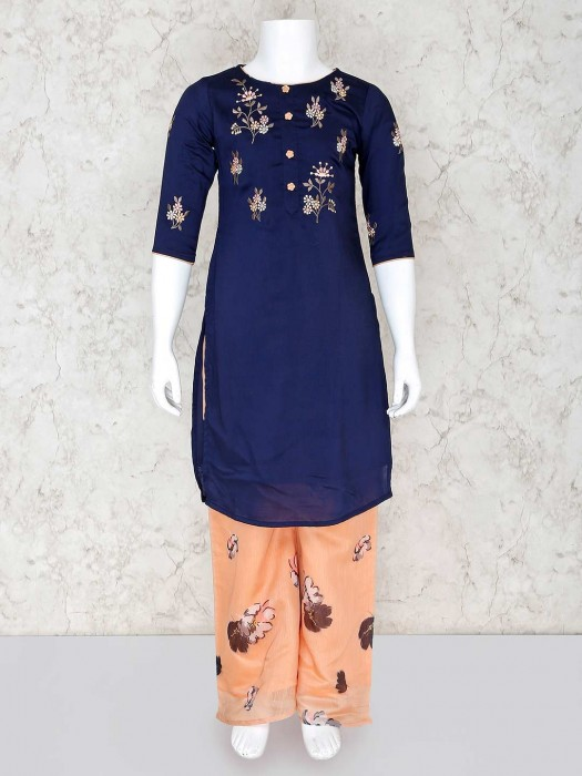 Navy Blue Palazzo Suit For Girls