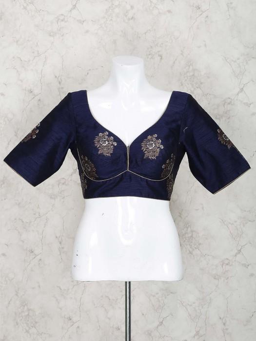 Navy Blue Pretty Raw Silk Blouse