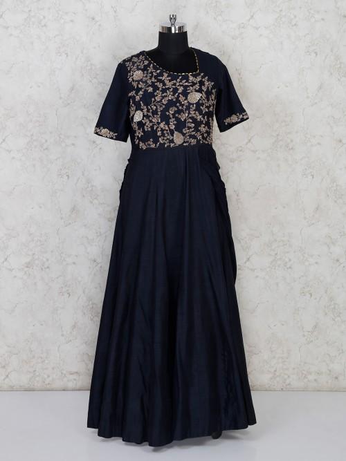 Navy Blue Raw Silk Party Wesr Designer Suit
