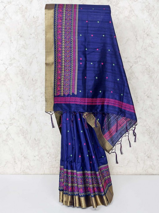 Navy Blue Saree In Cotton For Festive