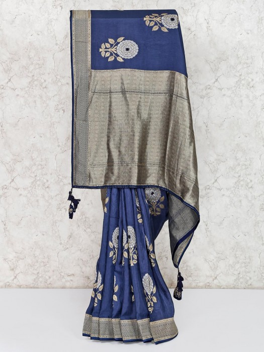 Navy Blue Semi Silk Classic Saree