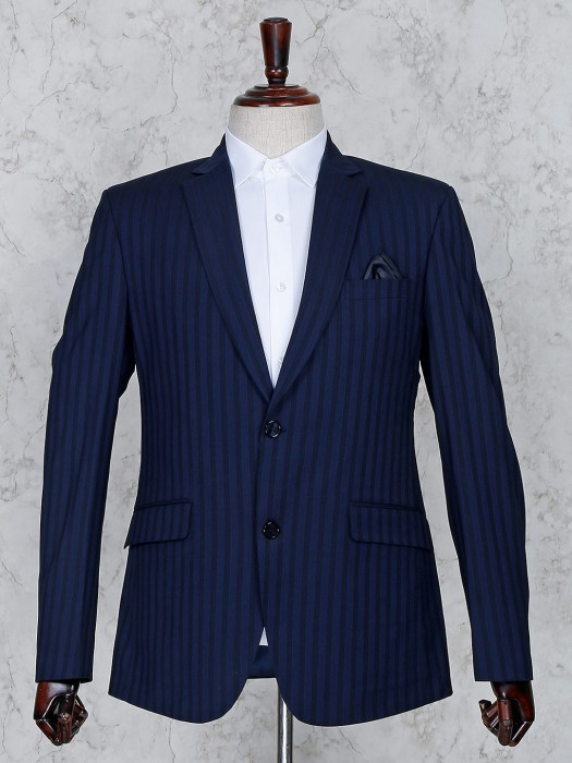 Navy Color Terry Rayon Stripe Pattern Coat Suit