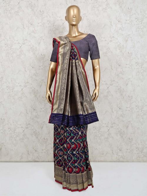 Navy Colour Patola Silk Wedding Wear Saree