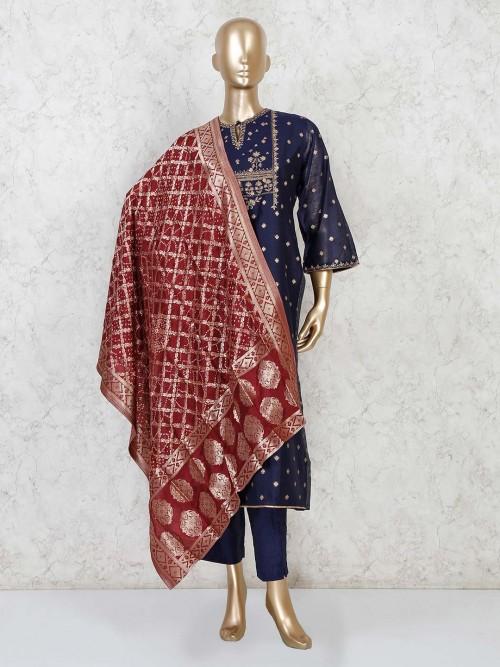 Navy Cotton Punjabi Pant Suit