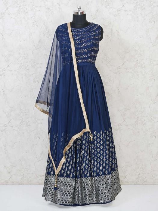 Navy Cotton Silk Festive Classic Anarkali Suit