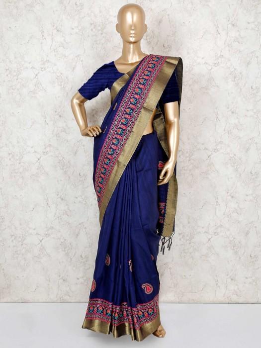 Navy Cotton Silk Festive Sari