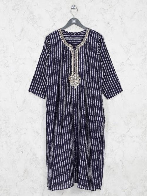 Navy Cotton Stripe Design Kurti Tunic