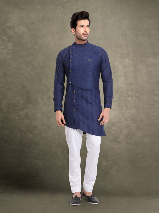 Navy Cut Style Stripe Cotton Kurta Suit