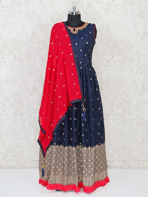 Navy Designer Anarkali Suit In Cotton Silk