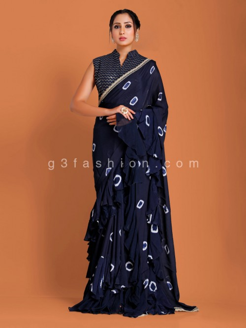 Navy Designer Contrast Bandhej Print Georgette Saree With Readymade Blouse