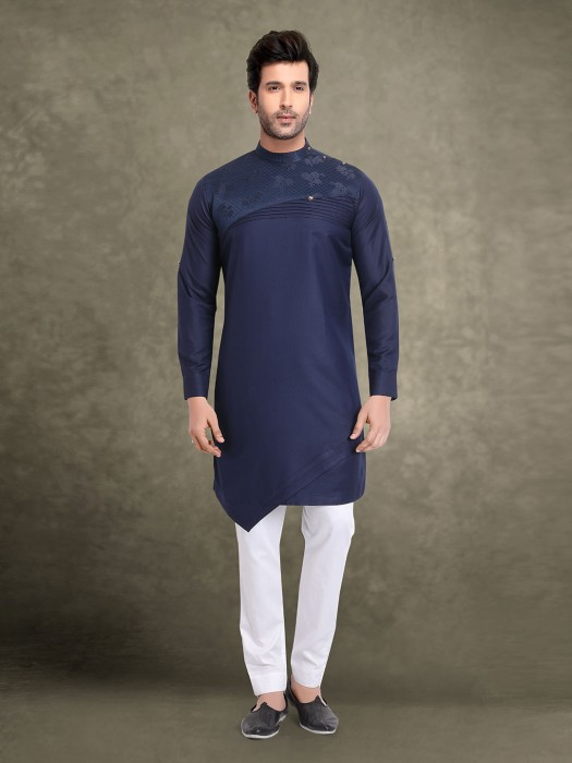 Navy Designer Cotton Kurta Suit