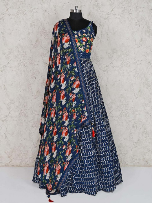 Navy Georgette Designer Anarkali Suit