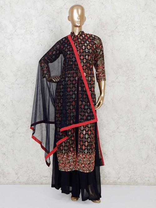 Navy Georgette Designer Palazzo Salwar Suit