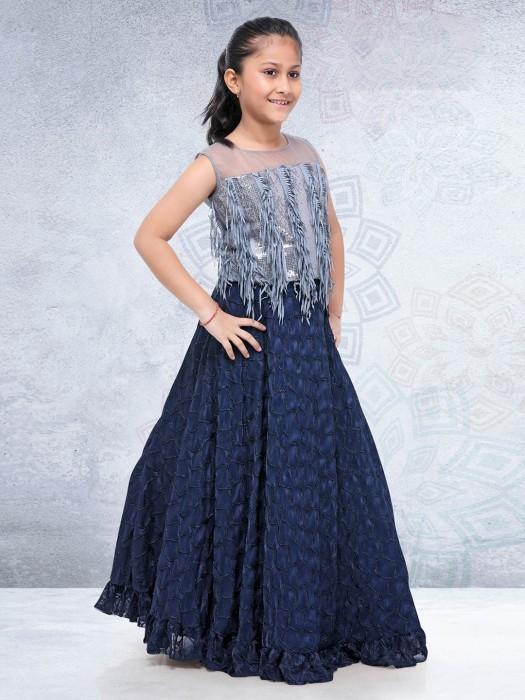 Navy Georgette Fabric Festive Lehenga Choli