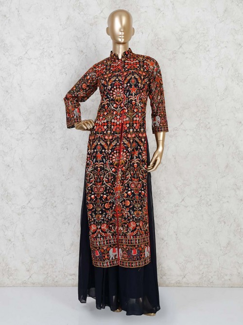 Navy Georgette Palazzo Suit For Evening Party
