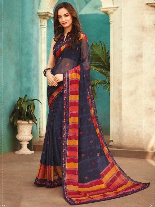 Navy Georgette Printed Saree For Festivals