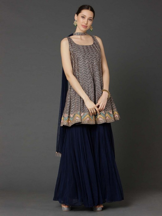 Navy Georgette Punjabi Suit With Sharara