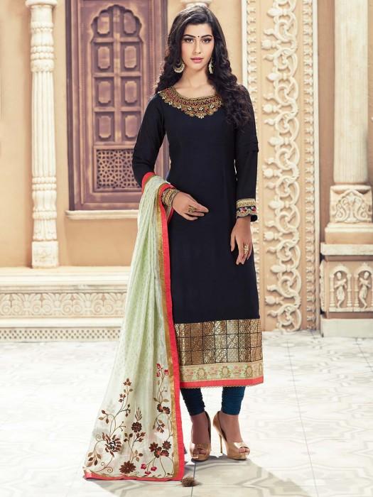 Navy Hue Colored Cotton Punjabi Salwar Suit