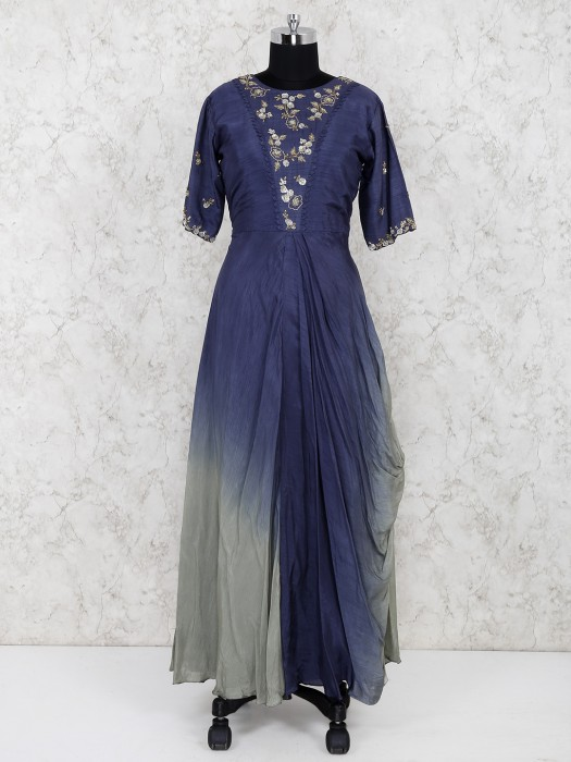 Navy Hue Cowl Style Long Raw Silk Salwar Suit