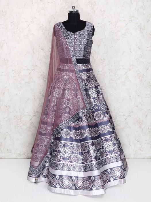 Navy Hue Floor Length Silk Anarkali Suit