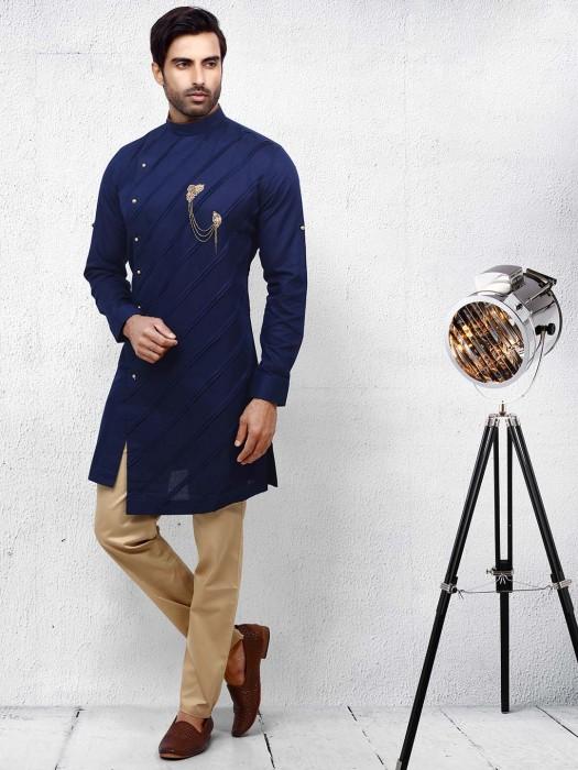 Navy Hue Pleats Pattern Cotton Kurta Suit
