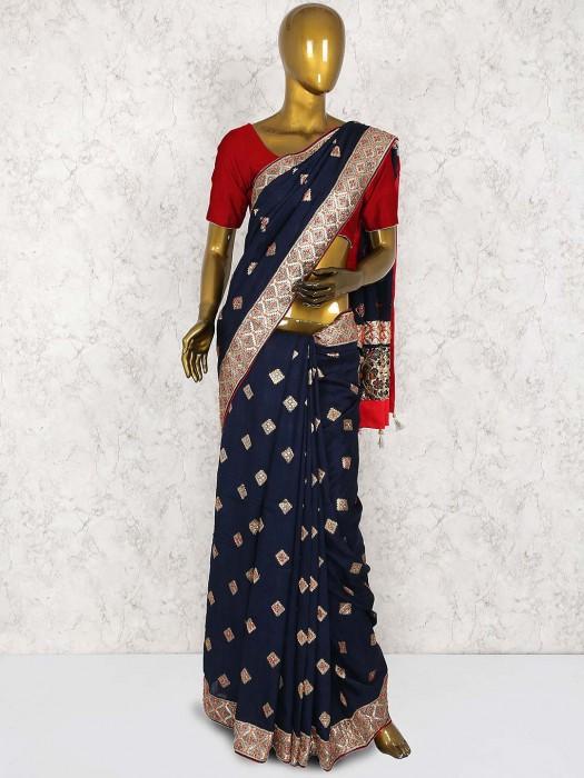 Navy Hue Pretty Saree In Cotton Silk