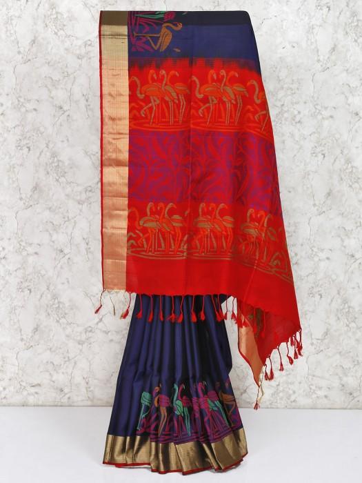 Navy Hue South Silk Fabric Saree