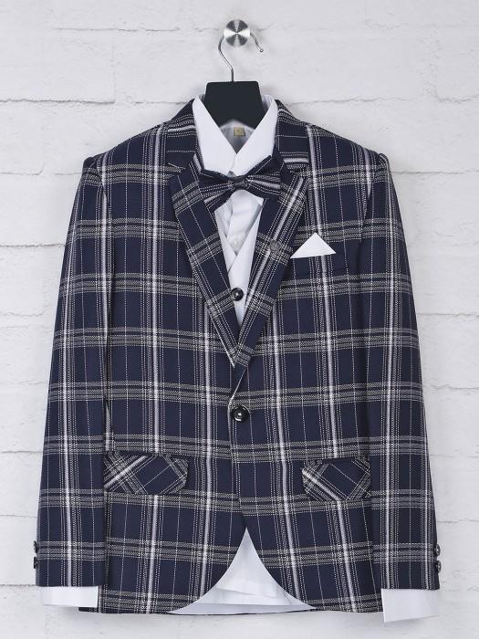 Navy Hue Terry Rayon Checks Tuxedo Suit