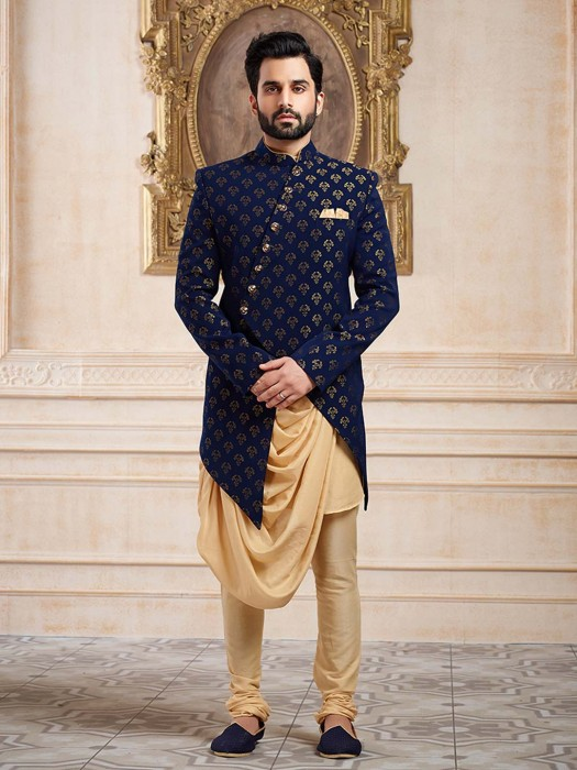 Navy Hue Terry Rayon Party Wear Indo Western