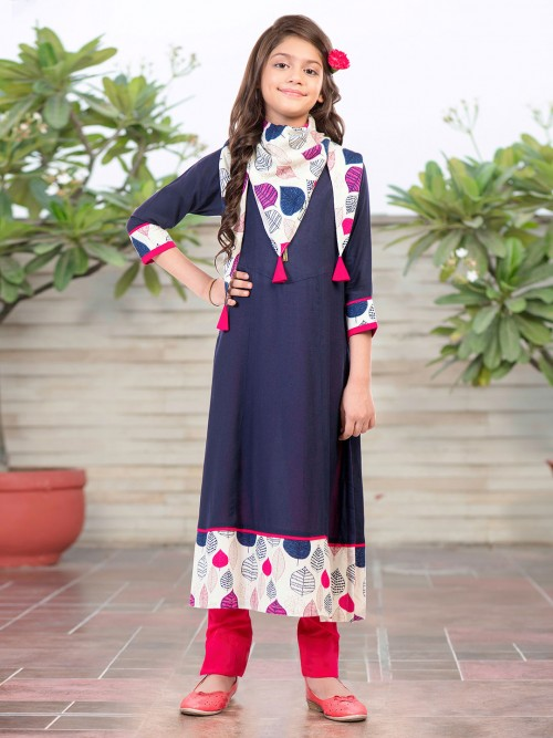 Navy Printed Cotton Pant Suit With Scarf