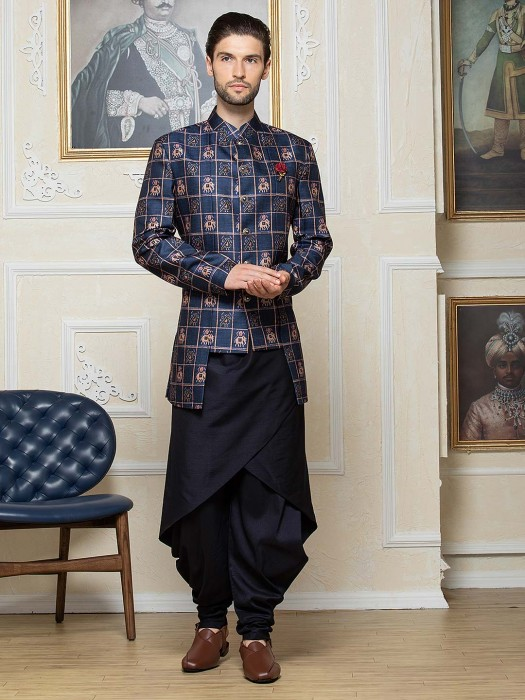 Navy Printed Pattern Silk Dhoti Style Indo Western