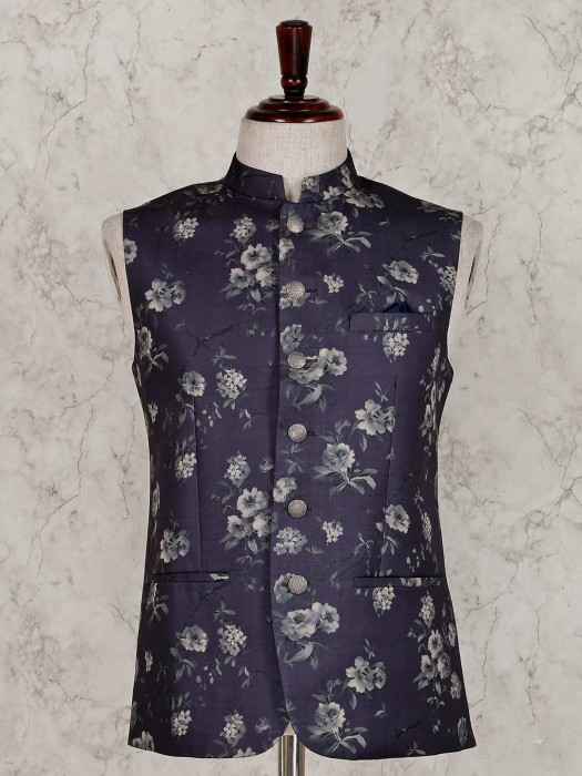 Navy Printed Terry Rayon Waistcoat For Party
