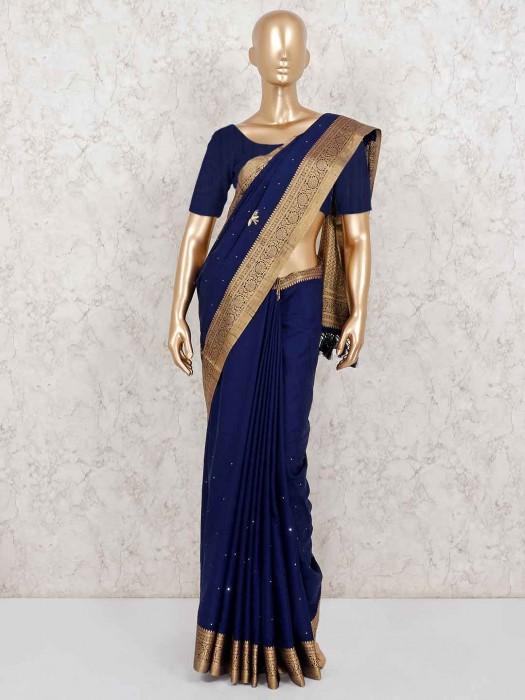 Navy Semi Silk Festive Occasion Saree