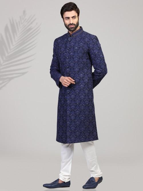 Navy Silk Chikan Thread Sherwani