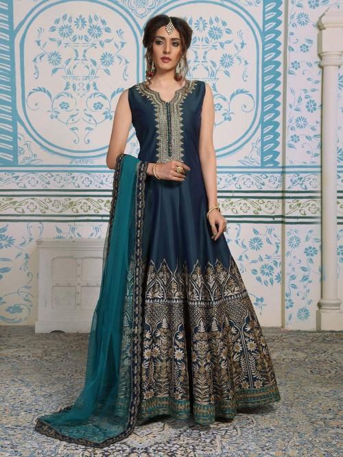 Navy Silk Floor Length Anarkali Suit For Wedding