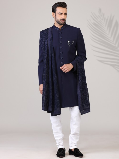 Navy Terry Rayon Mens Indo Western Party Wear