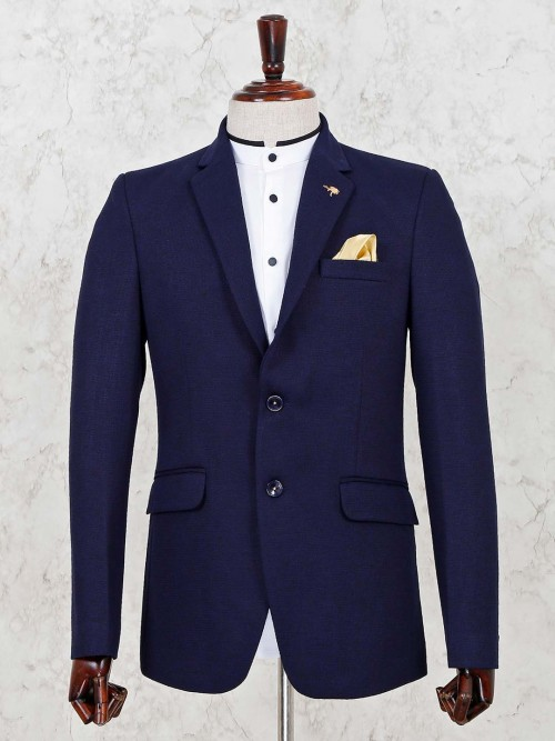 Navy Terry Rayon Solid Party Blazer