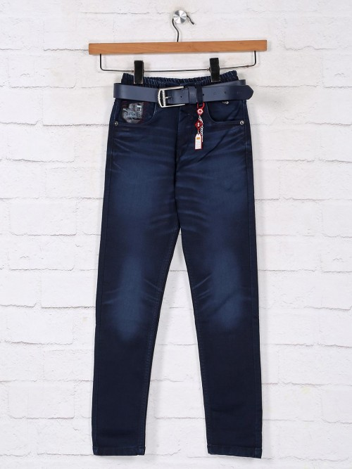 Navy Washed Denim Jeans For Boys