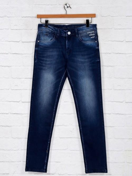 Navy Washed Mens Denim Jeans