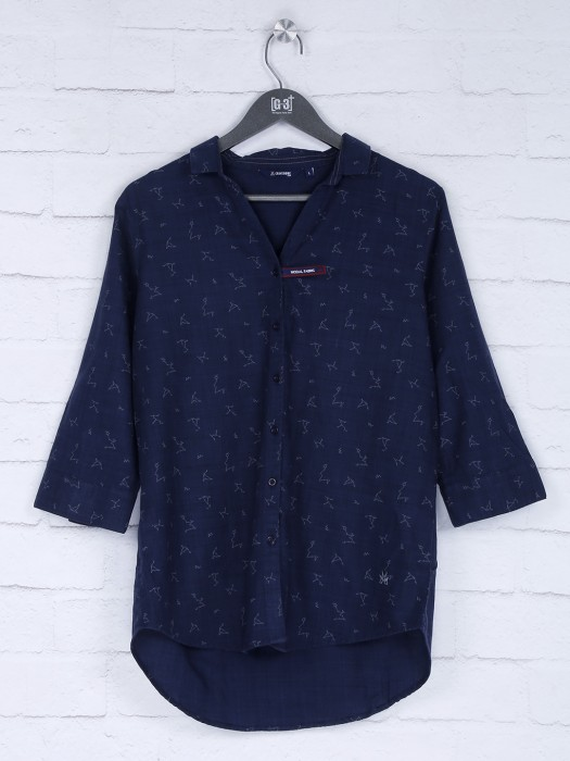 Navy Womens Cotton Fabric Printed Top