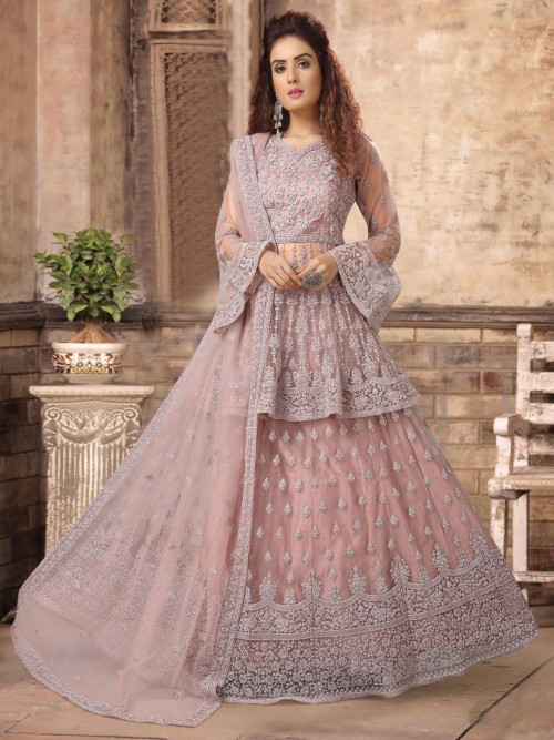Net Dusty Pink Sweetheart Neck Punjabi Lehenga Suit