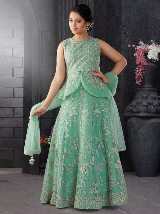 Net Fabric Green Hue Lehenga Choli For Party