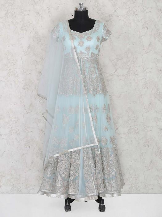 Net Fabric Wedding Wear Aqua Anarkali Suit