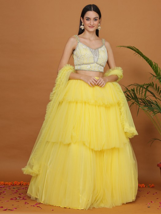 Net Gorgeous Yellow Flair Layer Style Lehenga Choli