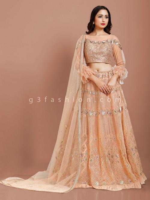 Net Peach Floor Length Designer Lehenga Choli
