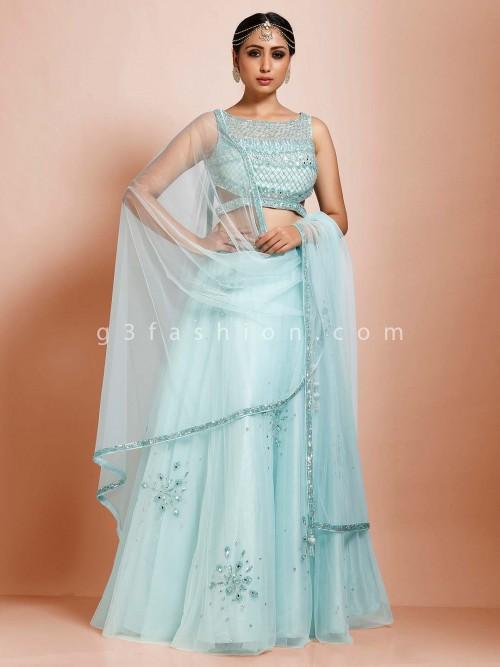 Net Sky Blue Wedding Wear Designer Lehenga Choli