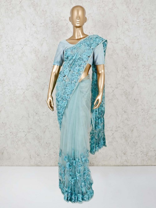 Net Sky Blue Wedding Wear Saree