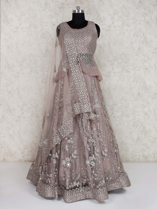 Net Wedding Grey Lehenga Choli